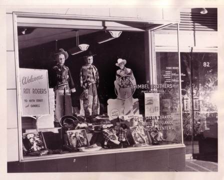 Gimbel Brothers store window in Philadelphia displaying the Roy Rogers Trick Lasso Electrical Demonstrator, Roy Rogers and Dale Evans Archives, Library and Archives, Autry Museum; T2010-28.