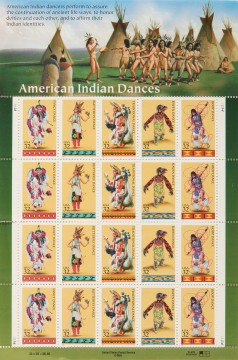 American Indian Dance Theater, sheet of 32-cent U.S. postage stamps, 1996