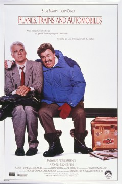 Planes Trains and Automobiles, movie poster featuring Steve Martin and John Candy, 1987