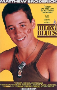 Biloxi Blues,movie poster featuring Mathew Broderick, 1988
