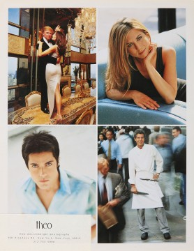 Theo Westenberger, printed card, self-promotion, featuring (clockwise from top right) Jennifer Aniston, Anthony Bourdain, Innis, and Donald and Melia Trump, circa 2003