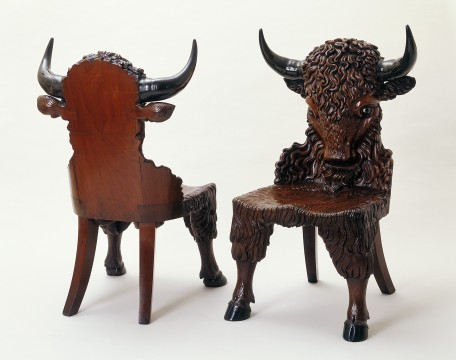 Bison chair, Scotland, 1842, Mahogany, rosewood, glass
