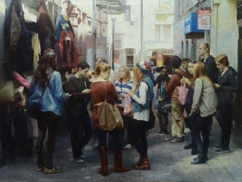 Huihan Liu, Shopping Day in Chinatown San Francisco, oil, 30 in. x 40 in.