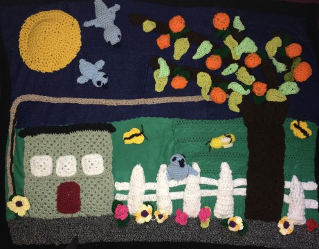 Braille Institute Crochet Class, California Backyard Landscape