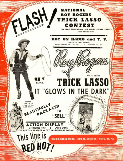 Advertisement selling the Trick Lasso, Roy Rogers and Dale Evans Archives, Library and Archives, Autry Museum;  T2010-28.